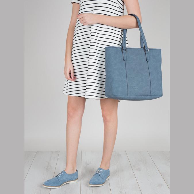 Modré kožené polobotky bata, modrá, 523-9600 - 18