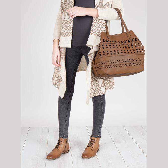 Perforovaná dámská kabelka bata, hnědá, 961-3274 - 17
