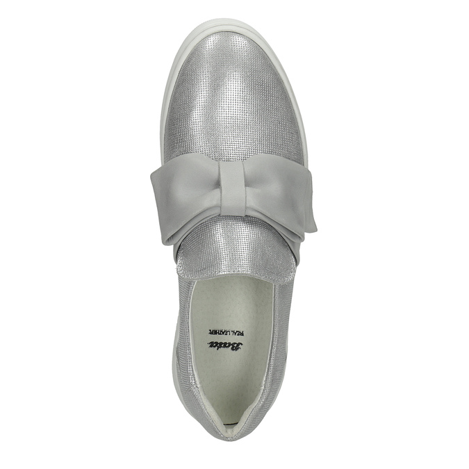 Kožená Slip-on obuv s mašlí bata, stříbrná, 516-2605 - 19