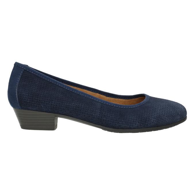 Kožené lodičky šíře H bata, modrá, 623-9601 - 15