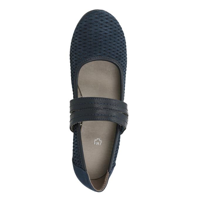 Modré kožené lodičky šíře H bata, modrá, 623-9600 - 15