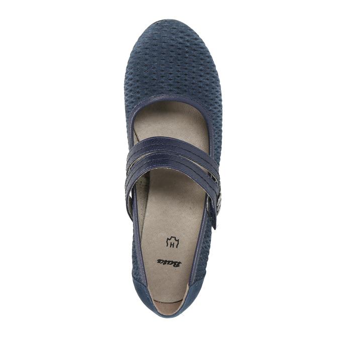 Modré kožené lodičky šíře H bata, modrá, 623-9600 - 19