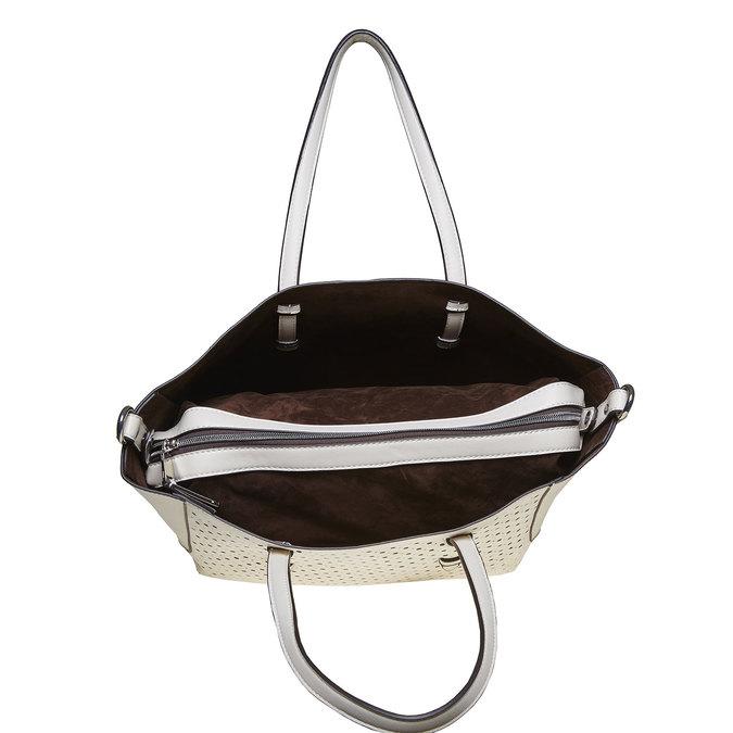 Dámská kabelka s perforací bata, bílá, 961-1276 - 15