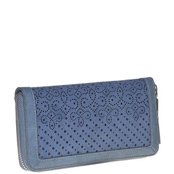 Modrá peněženka s perforací bata, modrá, 941-9147 - 13