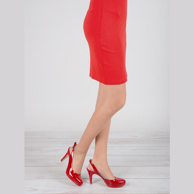 Červené kožené lodičky s volnou patou insolia, červená, 728-5638 - 18