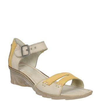 Kožené sandály na klínku bata, šedá, 626-2642 - 13