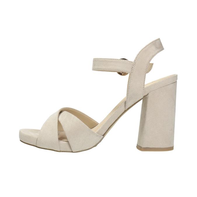 Dámské sandály na masivním podpatku bata, béžová, 769-8602 - 26