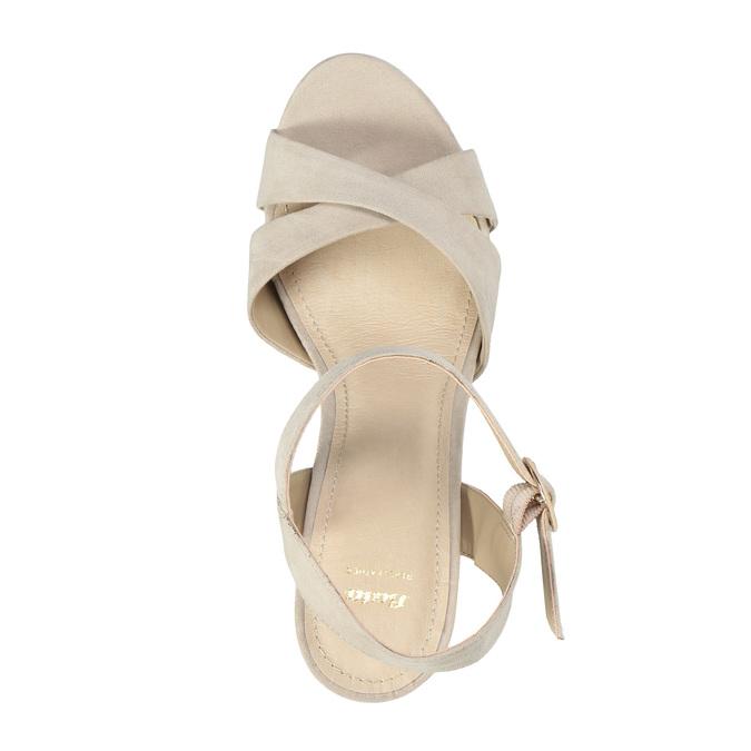 Dámské sandály na masivním podpatku bata, béžová, 769-8602 - 19