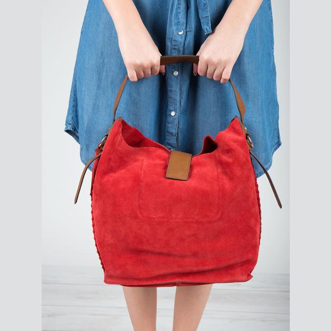 Červená kožená kabelka bata, červená, 963-5103 - 19