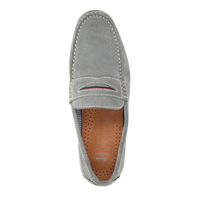Pánské mokasíny z broušené kůže bata, šedá, 853-2614 - 19