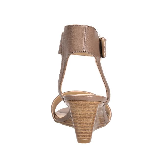 Kožené sandály na klínku bata, hnědá, 666-4607 - 17