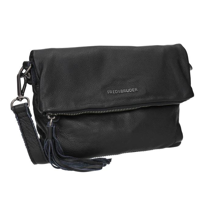 Černá kožená Crossbody kabelka fredsbruder, černá, 964-6037 - 13