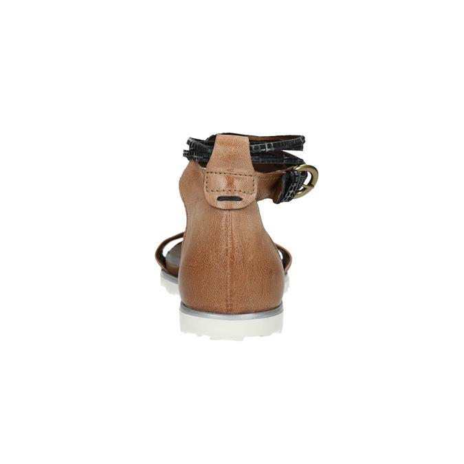 Dámské sandály s kontrastním páskem bata, hnědá, 566-3603 - 17