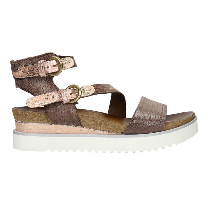 Dámské sandály na výrazné podešvi bata, hnědá, 666-4604 - 15