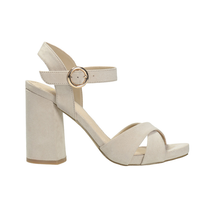 Dámské sandály na masivním podpatku bata, béžová, 769-8602 - 15
