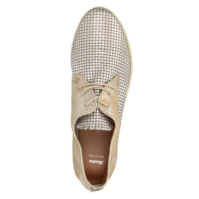 Dámské kožené polobotky bata, béžová, 526-8629 - 19