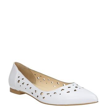 Bílé kožené baleríny bata, bílá, 524-1604 - 13