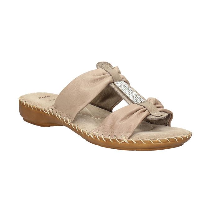 Kožené nazouváky šíře H bata, béžová, 566-4605 - 13
