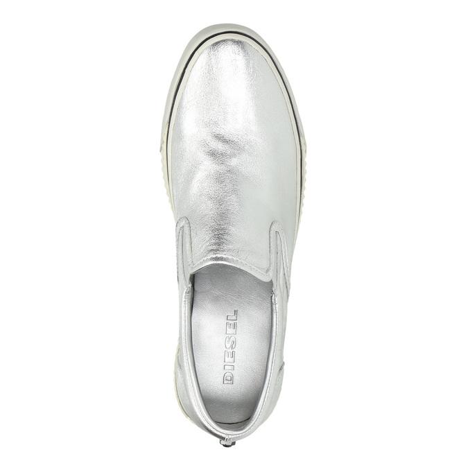 Kožená stříbrná Slip-on obuv diesel, stříbrná, 504-1437 - 19