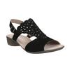 Kožené dámské sandály s perforací gabor, černá, 663-6201 - 13