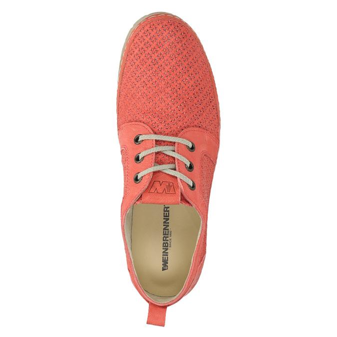 Dámské kožené polobotky červené weinbrenner, oranžová, 526-5636 - 19