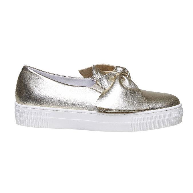 Zlatá kožená Slip-on obuv s mašlí north-star, zlatá, 514-8264 - 15