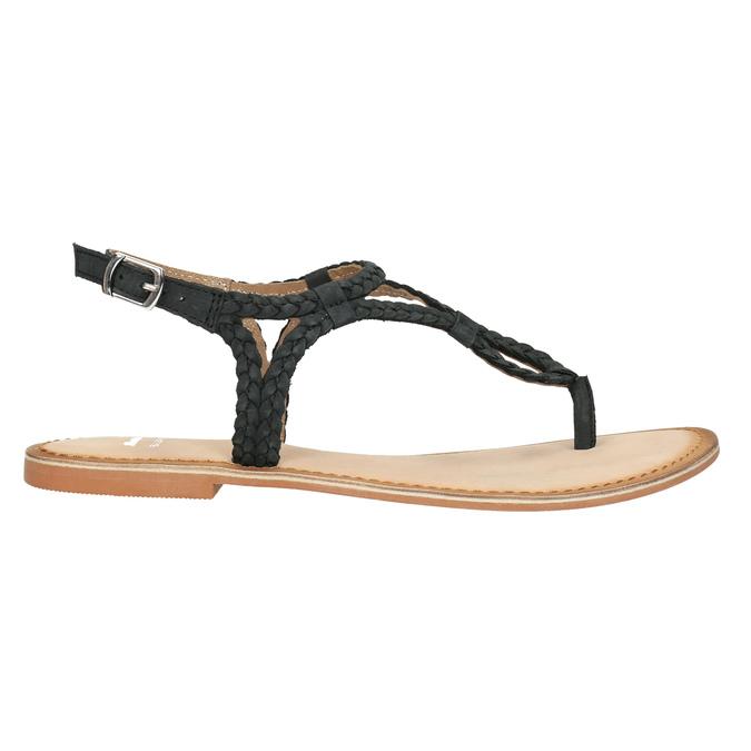 Dámské kožené sandály s propletením bata, černá, 566-6621 - 15
