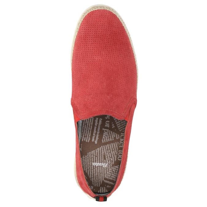 Červená kožená Slip-on obuv bata, červená, 853-5615 - 19