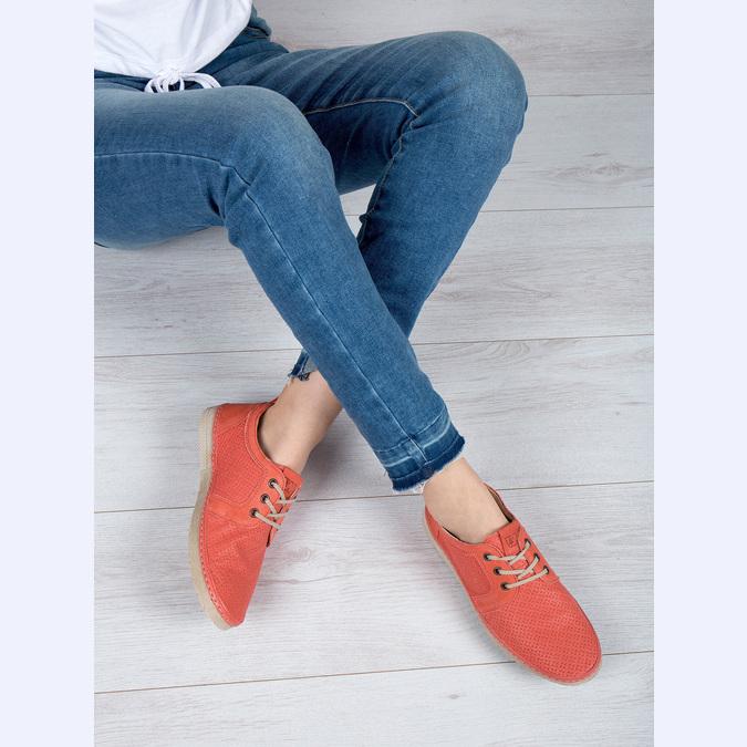 Dámské kožené polobotky červené weinbrenner, oranžová, 526-5636 - 18