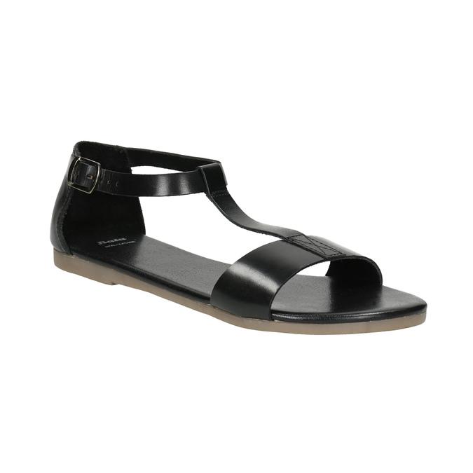 Černé kožené sandály bata, černá, 564-6600 - 13