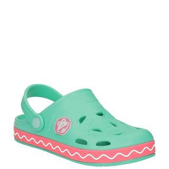 Dívčí sandály s žabkou coqui, zelená, 272-7602 - 13