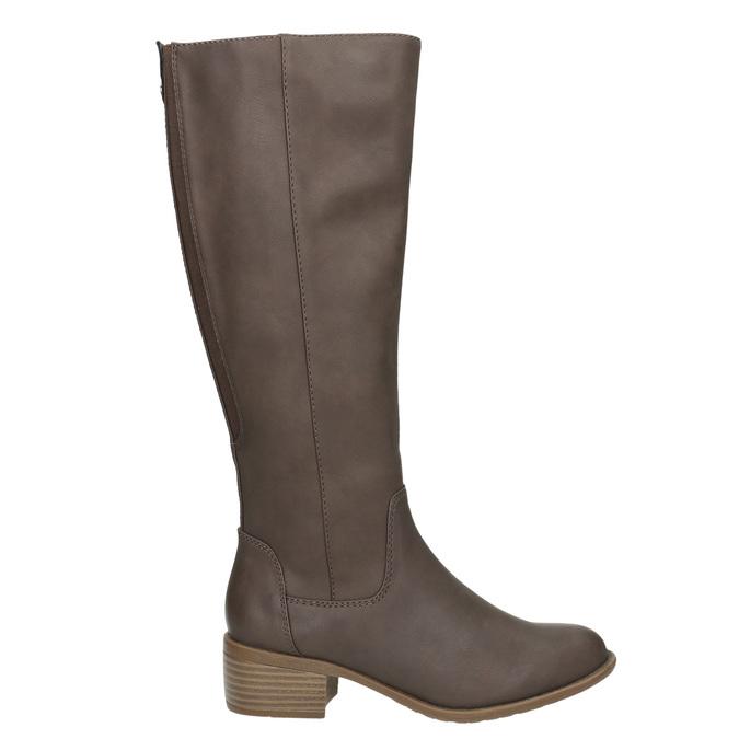Dámské kozačky na nízkém podpatku bata, hnědá, 691-4600 - 15