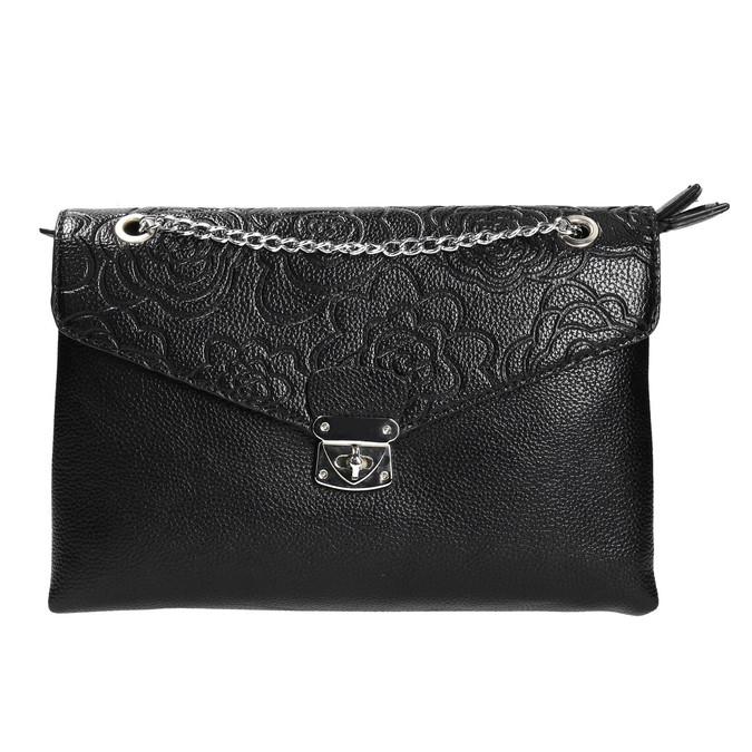 Menší černá kabelka s klopu bata, černá, 961-6731 - 26