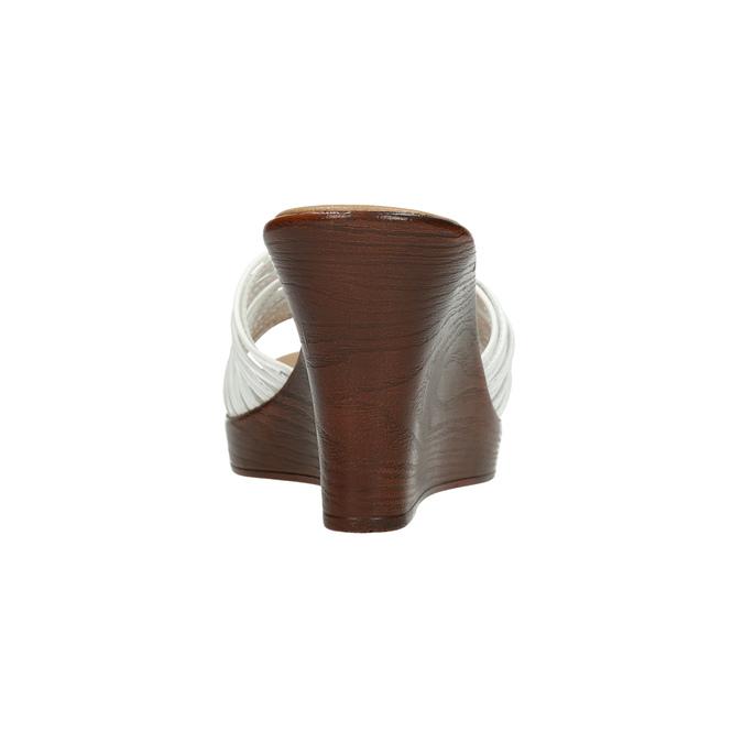 Kožené nazouváky na platformě bata, bílá, 766-1603 - 17