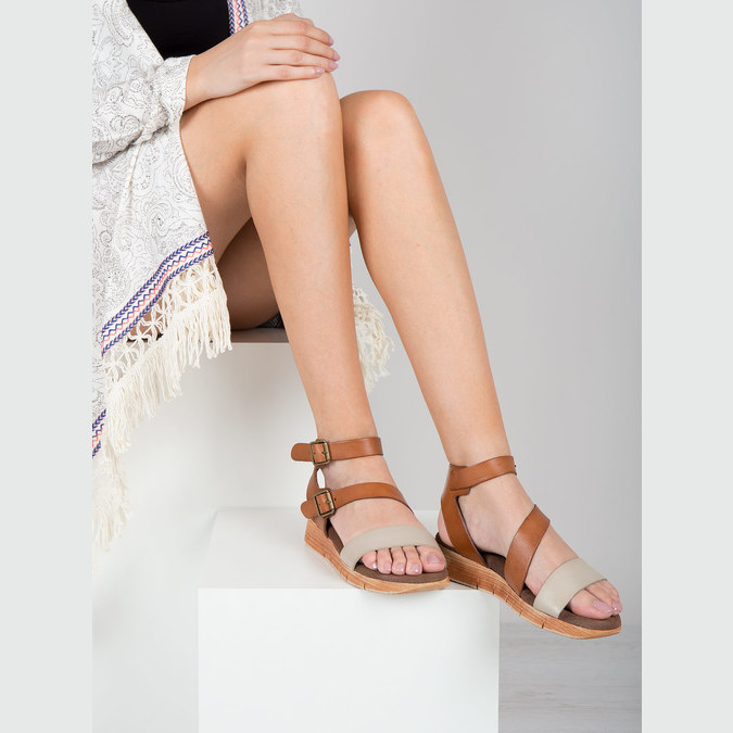Kožené sandály na výrazné podešvi weinbrenner, hnědá, 566-4627 - 18