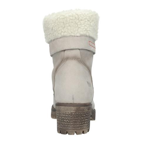 Kožená zimní obuv s kožíškem bata, béžová, 696-3336 - 15