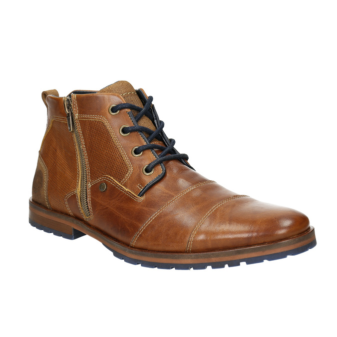 Kožená kotníčková obuv se zipem bata, hnědá, 826-3911 - 13