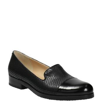 Kožené dámské mokasíny se strukturou bata, černá, 516-6610 - 13