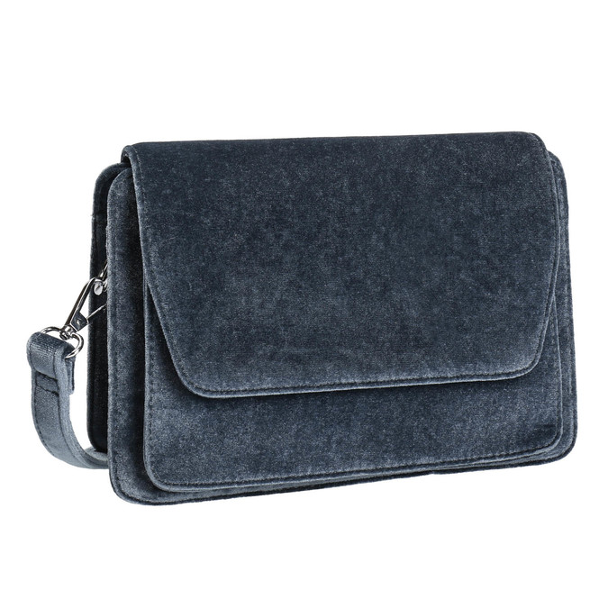 Dámská sametová kabelka bata, šedá, 969-2662 - 13