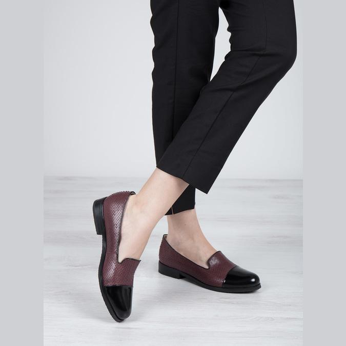 Kožené dámské Loafers bata, červená, 516-5610 - 18