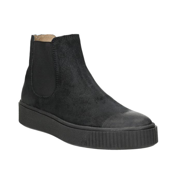 Dámská kožená kotníčková obuv bata, černá, 596-6671 - 13