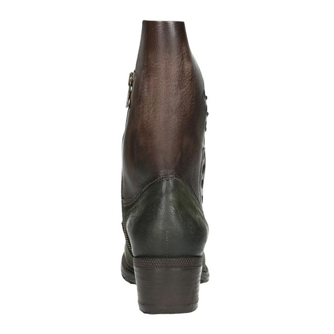 Kožené kozačky na nízkém podpatku a-s-98, zelená, 616-3035 - 16