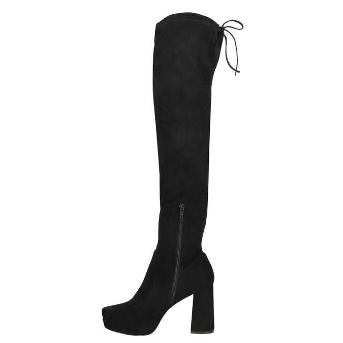 Černé dámské kozačky nad kolena bata, černá, 799-6663 - 26