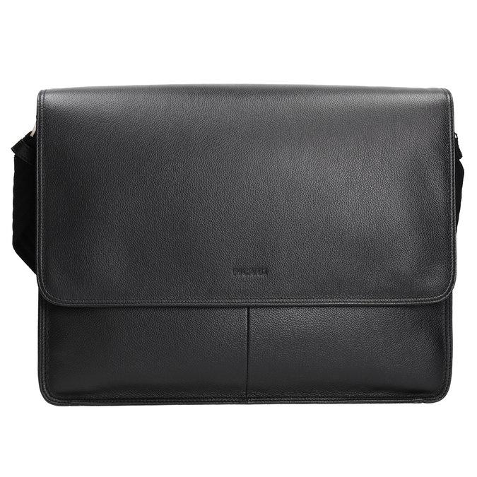 Kožená taška s klopou picard, černá, 964-6098 - 26
