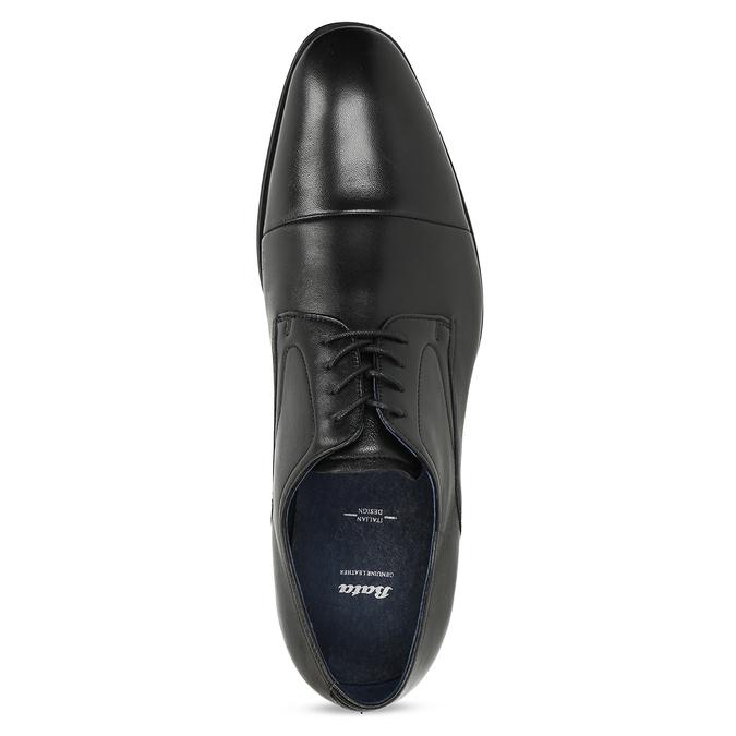Pánské kožené černé Derby polobotky bata, černá, 824-6406 - 17
