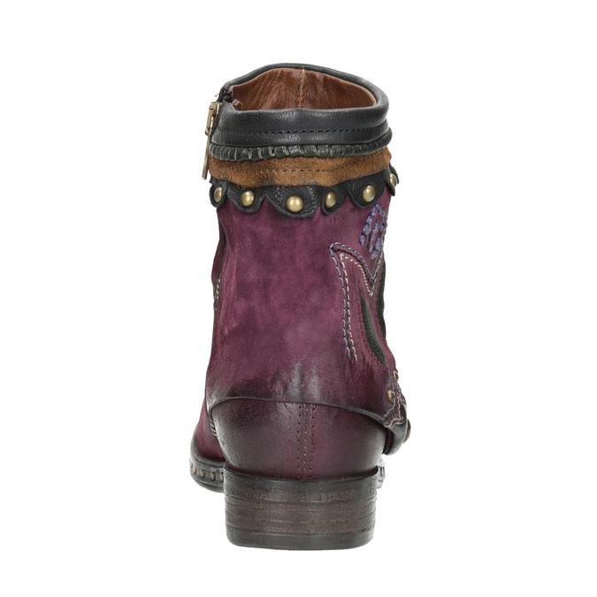 Kožená kotníčková obuv a-s-98, fialová, 516-5093 - 16