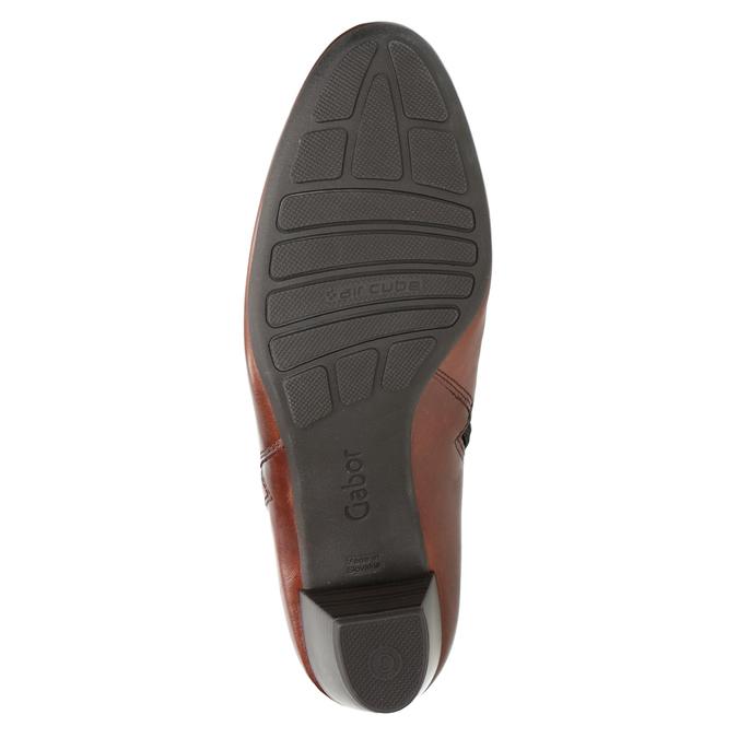 Kožená kotníčková obuv na nízkém podpatku gabor, hnědá, 616-3112 - 17