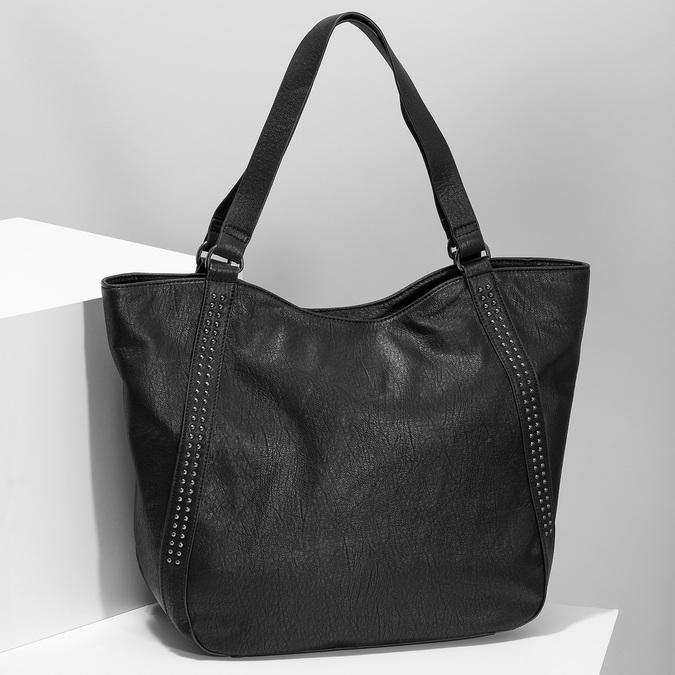 Černá dámská kabelka s prošitím bata, černá, 961-6787 - 17