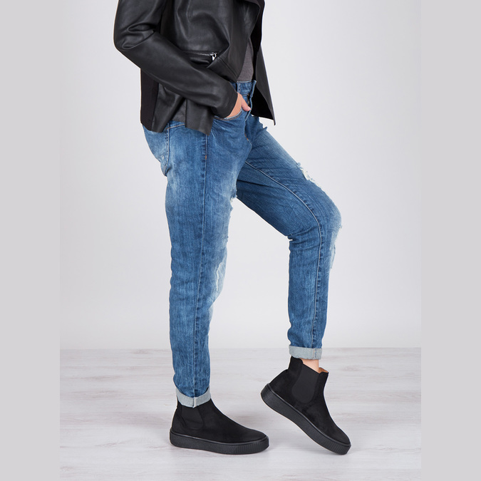 Dámská kožená kotníčková obuv bata, černá, 596-6671 - 19