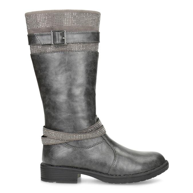 Dívčí kozačky s kamínky mini-b, šedá, 391-2655 - 19